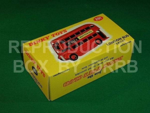 Dinky #291 Double Decker Bus 'Exide' - Reproduction Box